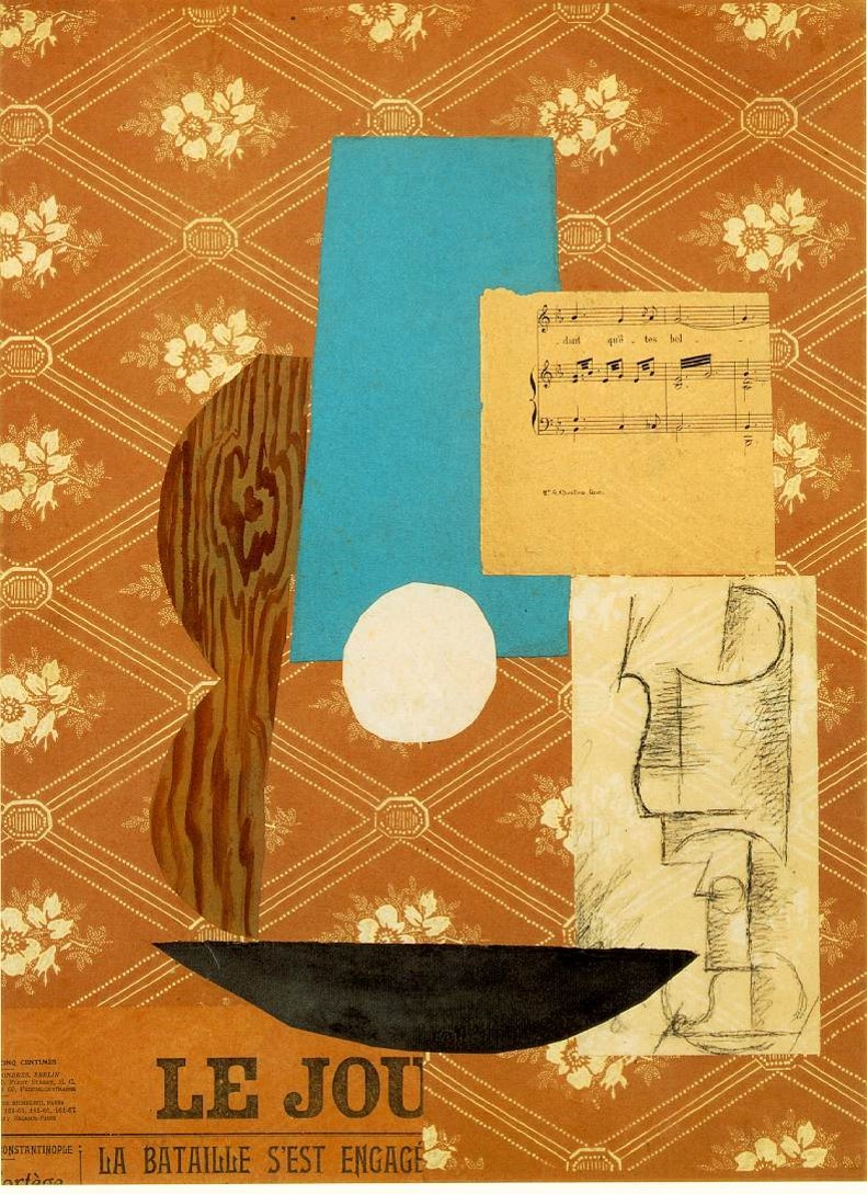 Pablo Picasso, Guitar , sheet music, and glass (1912)