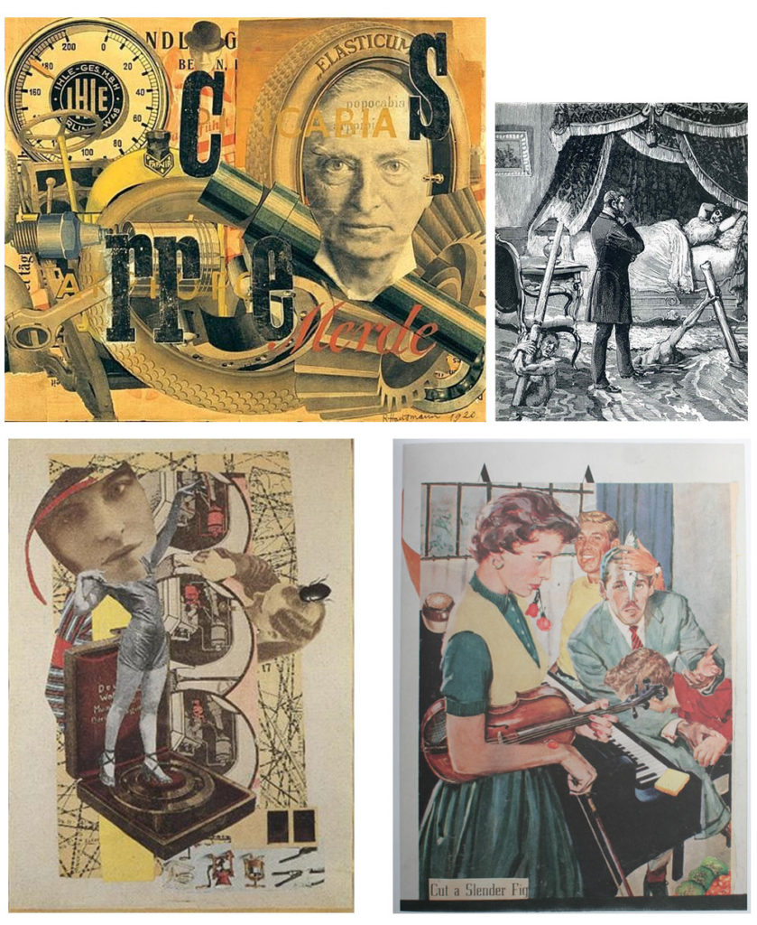 "Top left: Raoul Hausmann, Elasticum (1920) Top right: Max Ernst, ""Un semaine de bonte"" (1934) Bottom left: Hannah Höch, untitled (1920) Bottom right: Jess, When a young lad dreams of manhood (1953)"